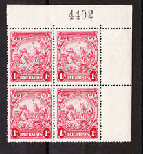 BARBADOS 1938-47 1d SCARLET PERF 14 IN BLOCK OF FOUR SG 249a MNH.