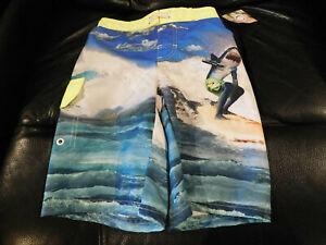 Ocean Pacific Boys Surfing Shark Swim Trunks • Size 6-7