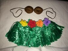 Build a Bear Hawaiian Green Grass Skirt w/ 4 Flowers & Brown Plush Coconut Bra