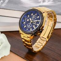 Luxury Mens Gold Stainless Steel Date Quartz Analog Wrist Watch Blue Dial DI