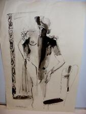 Orig INK DRAWING CHARLES BERGER Abstract EROTIC Lady Listed Artist & ILLUSTRATOR