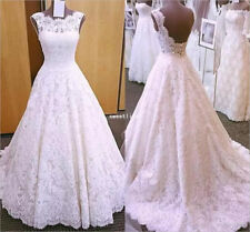 Vintage Lace White/Ivory A Line Wedding Dress Backless Sleeveless Bridal Gown