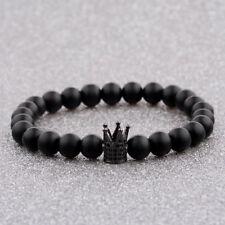 Luxury Zircon Crown Charm Bracelets 8mm Natural Stone Beads Women Men Xmas Gift