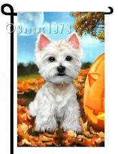 "WESTIE painting ""Before Twilight"" GARDEN FLAG West Highland Terrier Dog ART"