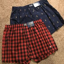 Polo Ralph Lauren lot 2 mens allover Pony, buffalo plaid boxers red, navy XL $56