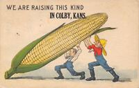 """""""We Raise this Kind"""" in Colby Kansas~2 Farmers Lift Exaggerated Ear of Corn~1915"""