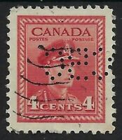 Perfin C6-CBC (Canadian Broadcasting Corp): Scott 254, 4c KGVI War Issue, Pos. 3