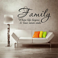 FAMILY LOVE LIFE BEGINS Wall Sticker Quote Decal Mural Transfer Stickers WSD705