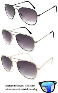 SMALL Pilot Multi Focus Progressive Reading Sunglasses 3 Strengths in 1 Reader