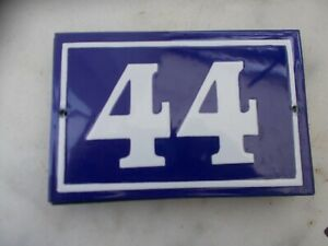 ANCIEN NUMERO *44* EMAILLE DE MAISON  PLAQUE EMAILLEE DE RUE 15cmx10cm  ref 2