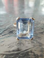 Aquamarine Octagon Cut Ring 10kt Solid Yellow Gold