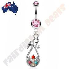 316L Surgical Steel Pink Gem Belly Ring with Multi-Gem Peacock Dangle