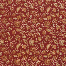 E619 Floral Red Gold And Green Durable Damask Upholstery Fabric By The Yard