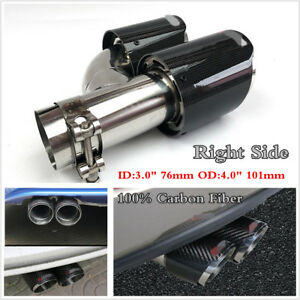 """Right Side Carbon Fiber Exhaust Tip Dual Pipe Black ID:3.0"""" 76mm OD:4.0"""" 101mm"""