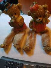 2 Holiday Bear Figures Detailed Halloween Thanksgiving figurines