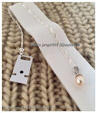 Collier chaîne +pendentif Perle D'Eau Douce Naturelle Argent Massif Bijoux Femme