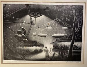 Paul Landacre 'Children's Carnival' Woodblock Original Signed Wood Cut Engraving