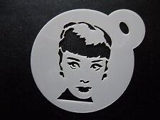 Taglio laser piccola Audrey Hepburn Design CAKE, biscotti, CRAFT & Face Painting Stencil