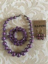 KAZURI 3 Piece Purple Set Necklace Earrings Bracelet Artisan Handcrafted Painted