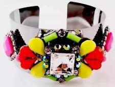 Multi GEM Pewter Statement Bracelet Cuff •Party GIFT pRESENT Wedding Birthday