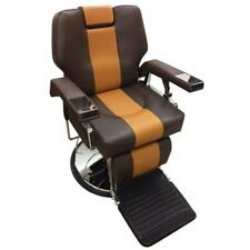 Professional Reclining Barber Chair Rare Two Tone Brown Shop Styling Haircutting