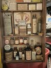 VINTAGE ANTIQUE MEDICAL APOTHECARY PHARMACY BROWN AQUA GLASS BOTTLE LOT.