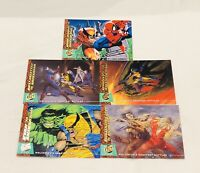 Fleer X-Men Ultra '94 Trading Cards Wolverine Battles , Spiderman , Hulk Etc