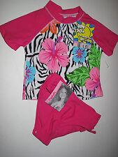 NWT Flapdoodles Sz *5* 2 Pc Girls Pink Zebra Print Swimsuit Rashguard UPF 50+