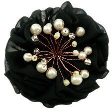 Barrette pince à cheveux Fleur froufrou tissu NOIRE soirée perles cristal Blanc
