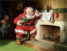 """CHRISTMAS SANTA CLAUS COKE COLA BOTTLE FIREPLACE CHILDREN VINTAGE """"CANVAS* PRINT"""