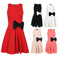 Women's Sleeveless Bow Skater Ladies Dress Cut Out Back Zipped Size 8-16