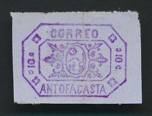 BOLIVIA STAMP 1878 CORREO ANTOFAGASTA 10c PROVISIONAL LOCAL PURPLE ORNATE FRANK