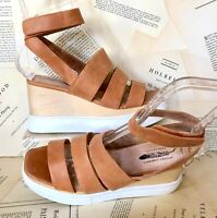Jeffrey Campbell for Free People Wedge Sandal tan Strappy Leather Wood 40/9-9.5