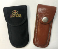 "Lot of 2 Redhead & Unbranded Leather Folding Knife Belt Clip Holder 4.5"" Long"