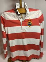 NWT Polo Ralph Lauren Boys College Green Striped Skull Hooded Rugby Polo Shirt