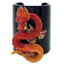 Butler et Wilson Cristal Dragon sur Large Plastique Bracelet Rigide Grosse
