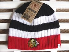 CHICAGO BLACKHAWKS '47 Brand Black Red Ribbed Skull BEANIE TOQUE Hat NHL Hockey