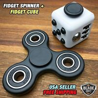 Magic Fidget Spinner Puzzle Cube Anti-anxiety Adults Stress Relief Toy Black