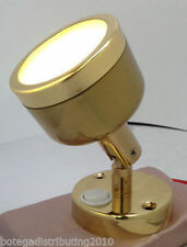 LED MARINE BOAT SWIVEL READING LIGHT BRASS LACQUERED INTERIOR 140 LUMENS