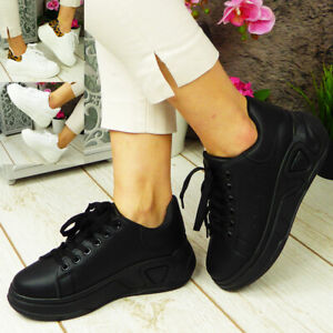 Ladies Chunky Platform Heel Womens Trainers Lace Up Jogging Sneakers Pumps Shoe
