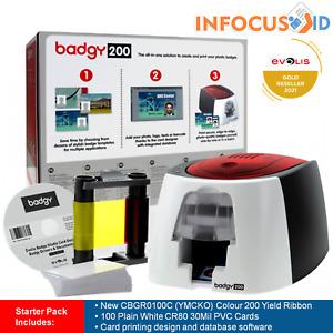 Evolis Badgy200 Plastic ID Card/Badge Printer With Starter Pack, Support & VAT