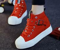 Womens Casual Lace Up High Top Sneakers Hidden Wedge Heels Canvas Creeper Shoes