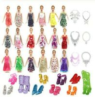 m IDEA REGALO LOTTO 26 PZ ACCESSORI BAMBOLE VESTITI COLLANE SCARPE DOLL DRESS