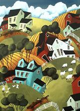 Farm abstract barn animals horse hills house ACEO Giclee folk art print Criswell