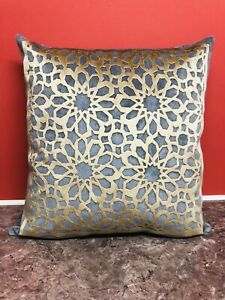 Grey and Shiny Gold Geometric crush Velvet Pillow throw cushion cover