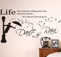 Life Inspirational 'Dance in the Rain' Wall Art Quotes Vinyl Wall Sticker, Decal