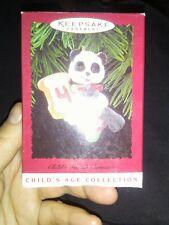1996 Hallmark Child's Fourth Christmas Ornament Keepsake Panda Bear Teddy Nib