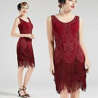 US STOCK Vintage Red 1920s Flapper Unique Dress Roaring 20s Great Gatsby Fringed