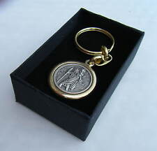 St Christopher Keyring Round diameter 30mm Key Fob Metal Gift Boxed