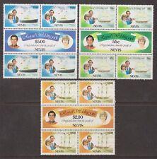 1981 Royal Wedding Charles & Diana MNH Stamp Set Block Nevis SG 72-77